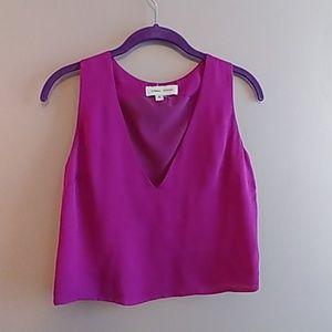 Silk deep v tank top in bright purple